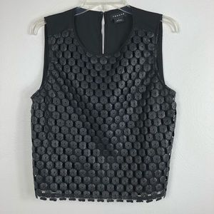 Trouve Sleeveless Faux Leather Crochet Lace Top